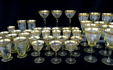 41 PC. GILT RIM STEMWARE