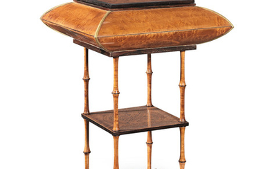A Charles X bird's eye maple, rosewood, marquetry and gilt bronze mounted work table