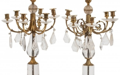 61041: A Pair of French Gilt Bronze and Rock Crystal Si