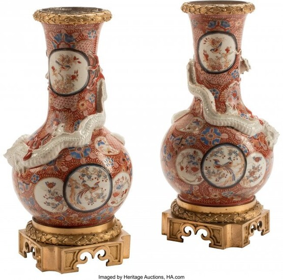 61341: A Pair of Japanese Gilt Bronze Mounted Porcelain