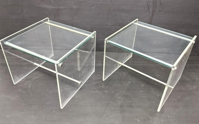 70s Modern Lucite Chrome and Glass Side Tables.