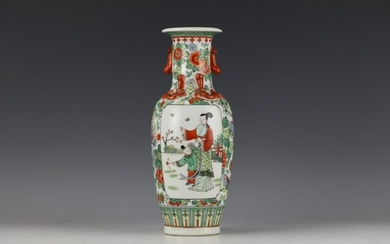 A Chinese Wucai Flower and Figure Porcelain Vase