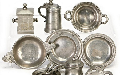 9 pieces, tin, early, turned by hand, 19th century