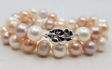925 Silver - 10x11mm Multi Cultured Pearls - Bracelet