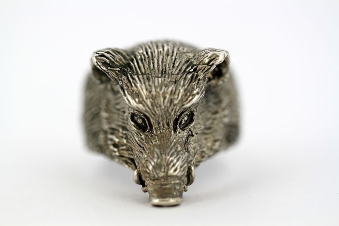 925 Silver - Vintage sterling silver men's ring in the shape of a boars head
