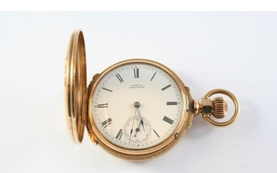 A 14CT GOLD FULL HUNTING CASED POCKET WATCH BY WALTHAM the w...