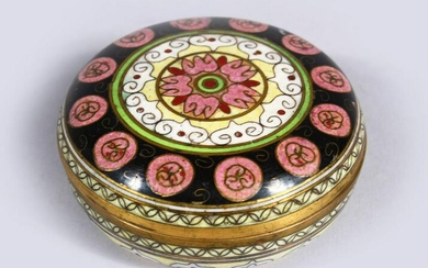 A 19TH CENTURY CHINESE CLOISONNE CYLINDRICAL BOX &