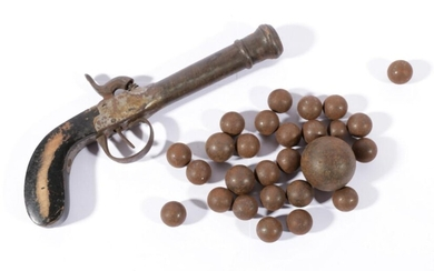 A 19th/20th Century Percussion Pistol, Together With A Collection of Various Sized Early Bullets
