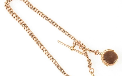 A 9 carat rose gold single albert watch chain with fob.