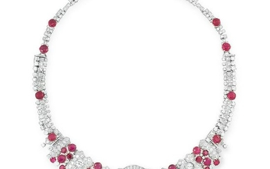 A BURMA NO HEAT RUBY AND DIAMOND NECKLACE set with