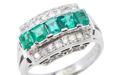 A COLOMBIAN EMERALD AND DIAMOND DRESS RING