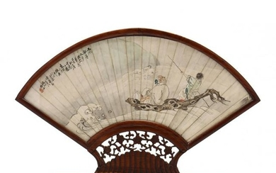 A Chinese Fan Painting of the Explorer Zhang Qian on a