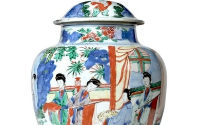 A Chinese Wucai Porcelain Jar and Cover, mid 17th century,...