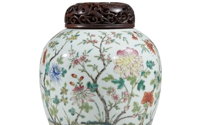 A Chinese famille rose-enameled porcelain jar Qing dynasty, 19th...