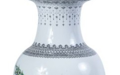 A Chinese-like porcelain vase converted to form a...
