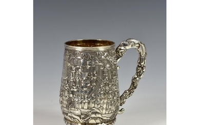 A Chinese silver tankard, probably late19th century, of ovoi...