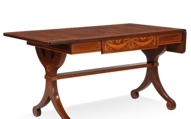 A Danish Empire style mahogany drop-leaf table with inlays. Ca. 1900. H. 75 cm. L. 122/162 cm. D. 73 cm.