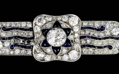 A Diamond and Sapphire Rectangular Brooch, 20th Century, in...