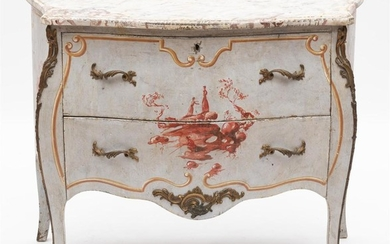 A FRENCH CHINOISERIE BOMBE COMMODE WITH PAINTED SCENES AND ORMOLU MOUNTS, 87.5CM H X 111CM L X 50CM D