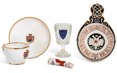 A GROUP OF PORCELAIN AND GLASS TABLEWARES, RUSSIA AND EUROPE, 19TH / EARLY 20TH CENTURY