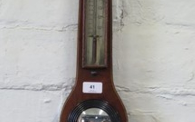 A George III mahogany and line inlaid banjo barometer, with ...