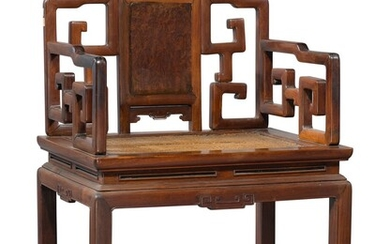A 'HONGMU' AND BURLWOOD SCROLL BACK ARMCHAIR, LATE 19TH / EARLY 20TH CENTURY