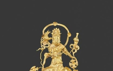A LIAO DYNASTY GOLD REPOUSSE FILIGREE ORNAMENT