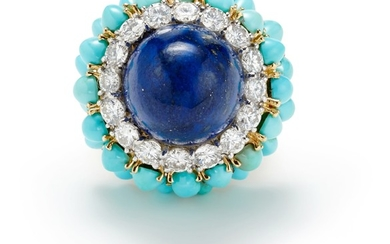 A Lapis Lazuli, Diamond, Turquoise and Gold Ring