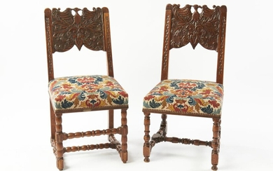 A MATCHED PAIR OF FRENCH BARONIAL CARVED TAPESTRY SIDE CHAIRS 19TH CENTURY AND LATER