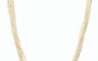 A MULTI STRAND SEED PEARL NECKLACE
