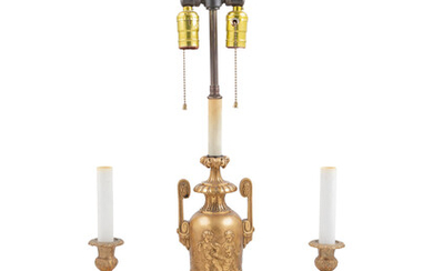 A Neoclassical Gilt Bronze Urn Mounted as a Lamp and a Pair of Porcelain Mounted Gilt Bronze Candlesticks