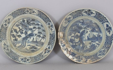 A PAIR OF CHINESE WANLI PERIOD BLUE & WHITE SHIPWRECK