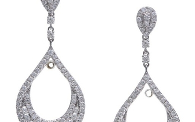 A PAIR OF DIAMOND EARRINGS-The open drops set with round brilliant cut diamonds totalling 3.26cts, to conforming stud fittings, in 1...