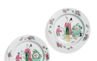 A PAIR OF FAMILLE-ROSE 'EGGSHELL' PORCELAIN DISHES, QING DYNASTY, YONGZHENG PERIOD