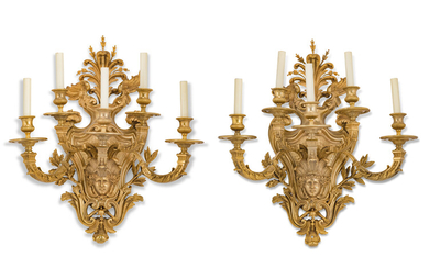 A PAIR OF FRENCH ORMOLU FIVE-LIGHT WALL-APPLIQUES, OF REGENCE STYLE, LATE 19TH CENTURY