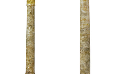 A PAIR OF GEORGE III ORMOLU-MOUNTED FLUORSPAR AND MARBLE CORINTHIAN COLUMNS, ATTRIBUTED TO MATTHEW BOULTON, CIRCA 1770