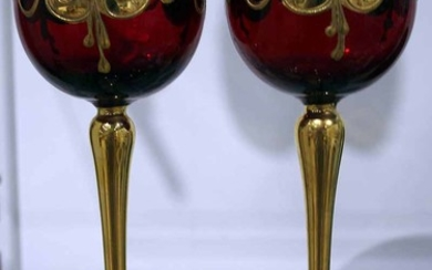 A PAIR OF VENETIAN GLASS GOBLETS