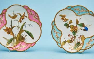A PAIR OF VICTORIAN BODLEY AESTHETIC WARE PLATES CIRCA 1880