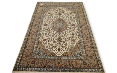 A RARE INSCRIBED SILK AND KORK WOOL CLASSIC PERSIAN KASHAN CARPET, 100% LAMB'S WOOL PILE WITH SILK INLAYS IN PRISTINE CONDITION, FIN..