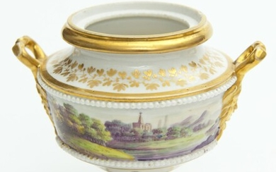 A ROYAL WORCESTER HAND PAINTED FRUIT & BERRY PATTERN VASE SIGNED H AYRTON, LACKS COVER, H.11CM, LEONARD JOEL LOCAL DELIVERY SIZE: SMALL