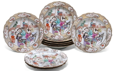 A SET OF TEN FAMILLE-ROSE DISHES QING DYNASTY, 18TH CENTURY
