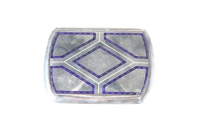 A SILVER AND ENAMEL SNUFF BOX, c. 1900, PROBABLY