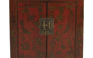 A SMALL CHINESE RED-LACQUERED CABINET QING DYNASTY (1644-1912), SHANXI PROVINCE, 18TH/19TH CENTURY