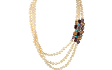 A THREE ROWED CULTURED PEARL NECKLACE, to a multi gem set go...