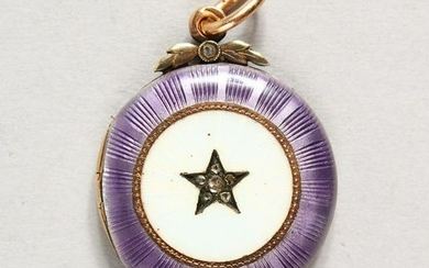 A VERY GOOD SMALL RUSSIAN GOLD AND ENAMEL LOCKET. Marks