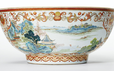 A VERY UNUSUAL FAMILLE ROSE, IRON-RED AND GILT PUNCHBOWL, QIANLONG PERIOD (1736-95)