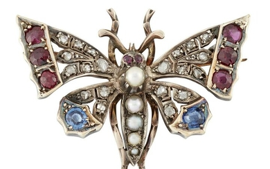 A VICTORIAN RUBY, SAPPHIRE, PEARL AND DIAMOND BUTTERFLY