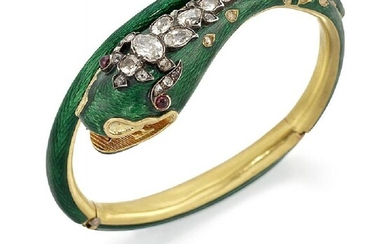 A Victorian gold, diamond and enamel serpent...
