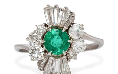 A White Gold, Emerald and Diamond Ring,
