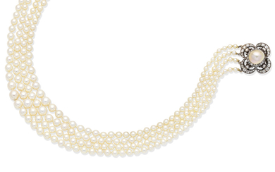 A cultured pearl necklace with a 19th century natural pearl and diamond clasp